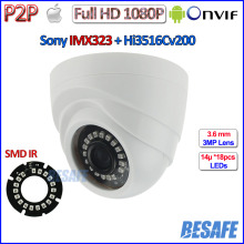 Night Vision 2MP Security Camera with IMX323 Sensor 1080P WDR ip camera, 3.6mm Lens, 18pcs IR LED, IR CUT, ONVIF 2.4, H.264, P2P