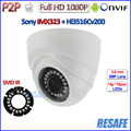Sensor de Visão noturna Câmera De Segurança De 2MP com IMX323 1080 P WDR câmera ip, Lente de 3.6mm, 18 pcs IR LED, IR CUT, ONVIF 2.4, H.264, P2P