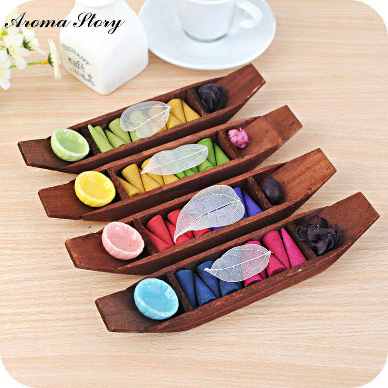 Aroma story 4pcs lot wooden boat with ceramic incense for Aroma indian cuisine coupon