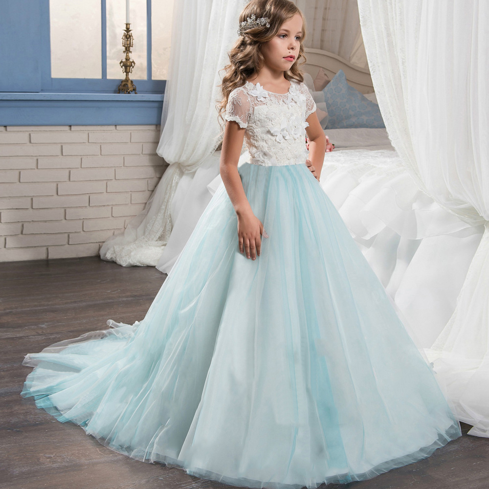 Teenager Long Dress Ball Gown Short Sleeve Girl Lace Dress Princess Girls Wedding Dresses Embroidered Birthday Party Clothes
