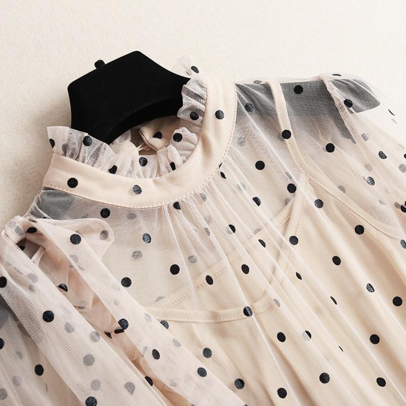 ligne De A Qualité Manches 2019 Longues Apricot Impression À C957 Nouvelles Supérieure Femmes Robe Maille Robes Printemps Vintage Mode A6g5gxFZqw