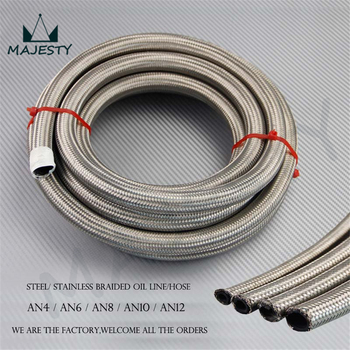 AN8 Stainless Steel Braided 8AN Oil/Fuel/Gas Line/Hose 10M/32Feet 10Meter silver