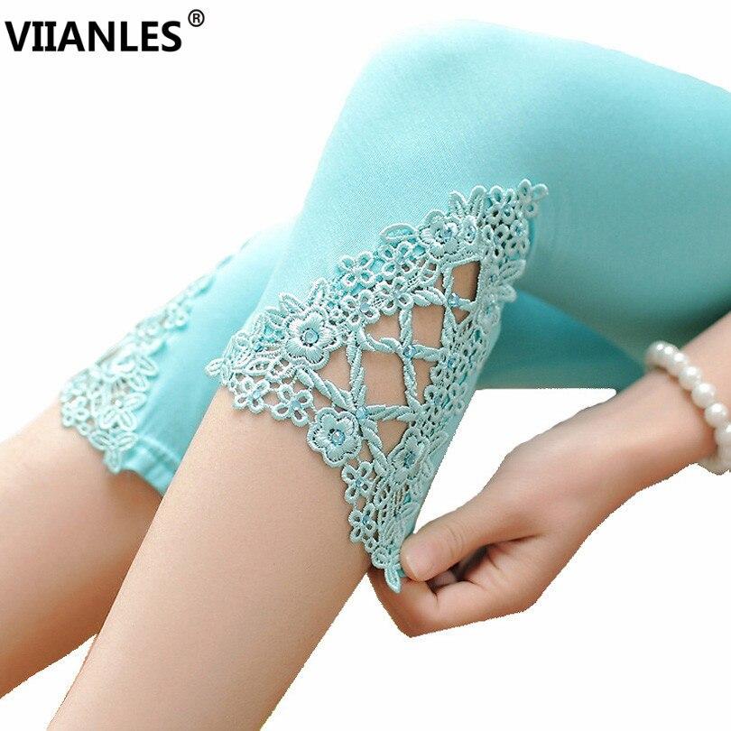 VIIANLES Hollow Out Lace Legging Cotton Summer Leggings Women Short Leggin White Pants Black Casual Capris Hot Elastic Leggins