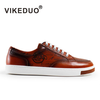 Vikeduo Handmade Flat Mens Casual Shoes Laser Painted 100% Genuine Leather Fashion Luxury Awesome High Quality Origianl Design