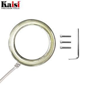 Image 2 - Kaisi سامسونج 60 LED قابل للتعديل مصباح مصمم على شكل حلقة إضاءة مصباح ستيريو مجهر تكبير USB التوصيل