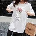 Misslymi m-xl plus size loose women t-shirt 2017 primavera verão de algodão bolso animal bonito cat carta impressão curta-mangas compridas topos