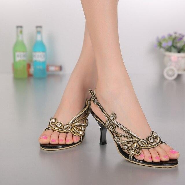 Femmes belles sandales de haute qualité mode en cuir véritable strass dames chaussures confortables