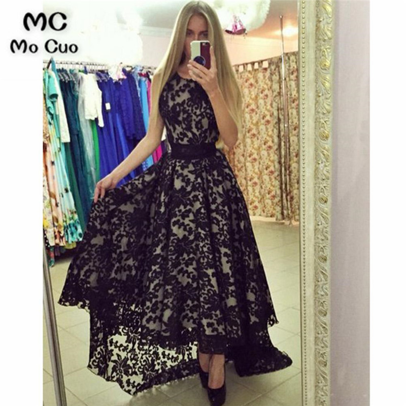 2018 Elegant Black Hi Lo Gown Prom Dresses Long Scoop Sleeveless Dress For Graduation Lace Evening Prom Dress