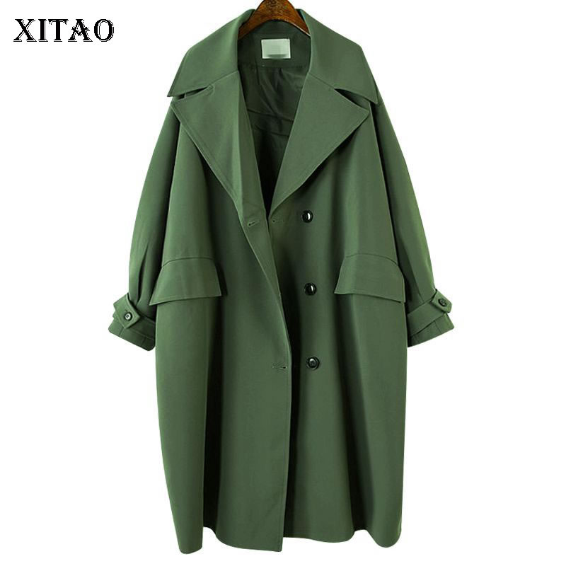 [XITAO] 2019 Spring Summer Korea Fashion New Women Wide-Waisted Single Breasted Turn-down Collar Full Sleeve Long   Trench   LYH3238