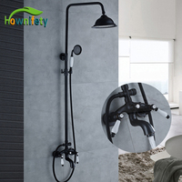 Classic Black Color Bath Shower Faucet 8 Shower Head Dual Handles Three Fuction Water Outlet Mixer