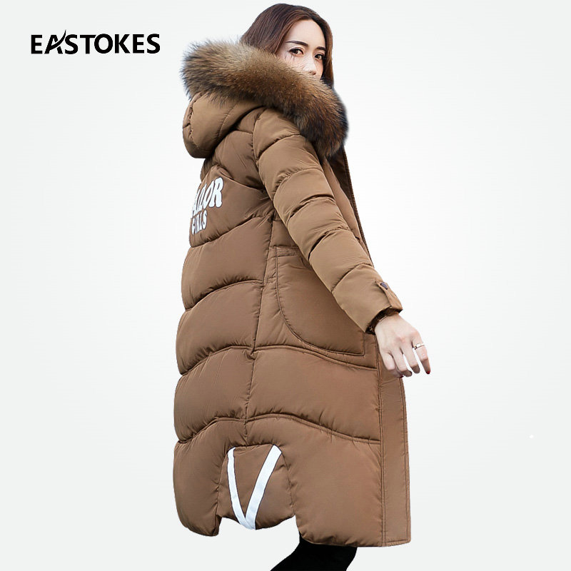 Fashion Women Winter Coats With Large Fur Collar Ladies Thick Hooded Jackets Female Parkas V-Strip Outerwears For Cold winter 2016 new women parkas faux fur collor three quarter sleeve female outerwears fashion loose woolen coats plusaf445