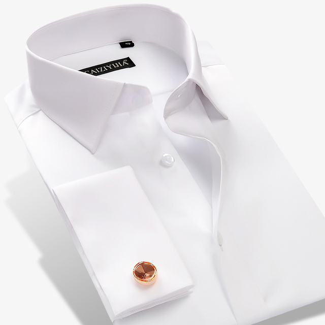 Luxury White and Red French Cufflinks Long Sleeve Men Shirts