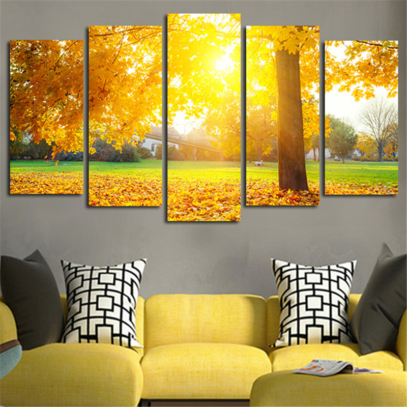 5Panel Wall Painting Autumn Sun Shine Leaves Canvas Modular Art ...