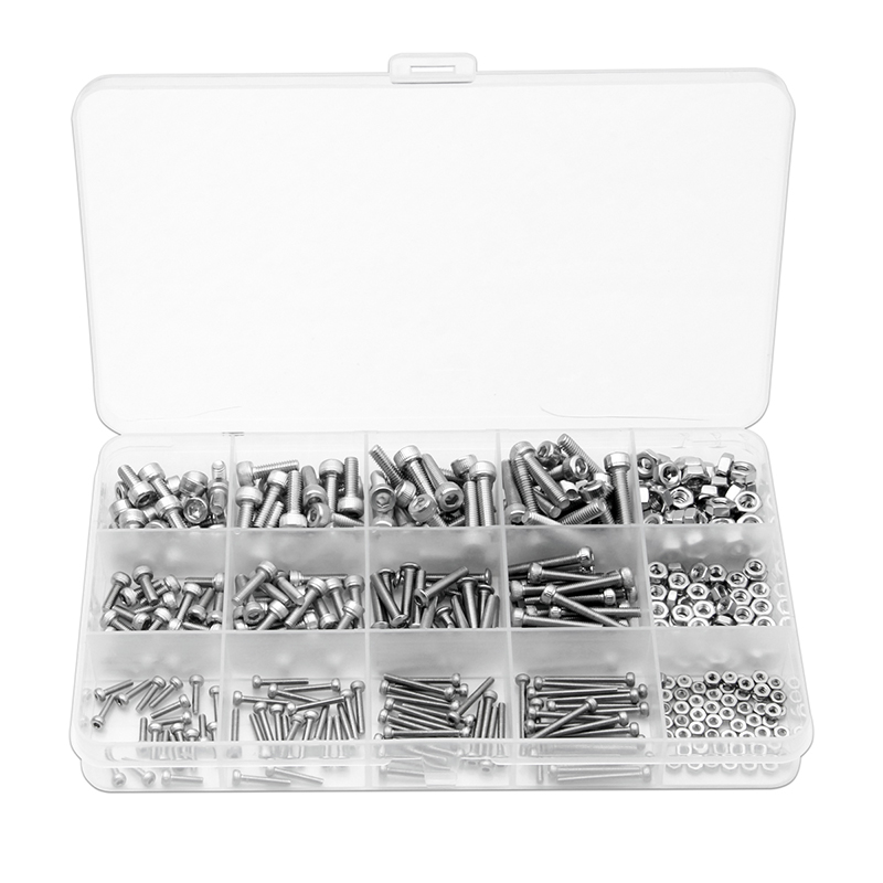 420PCS 12Sizes Hexagon Hex Screws Nuts Column Bolt Sets M2/M3/M4 304 Stainless Steel for Hardware Cylinder Cup Machine Screw Kit zenhosit 420pcs m2 m3 m4 304 stainless steel 12sizes hexagon hex hardware cylinder cup machine screws m2 m3 m4 nuts kit with box
