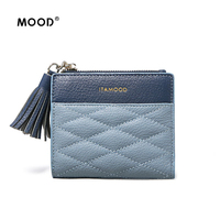 MOOD 2017 the new head layer cowhide brief paragraph small zipper wallet female leather fold mini tassel zero wallet bag