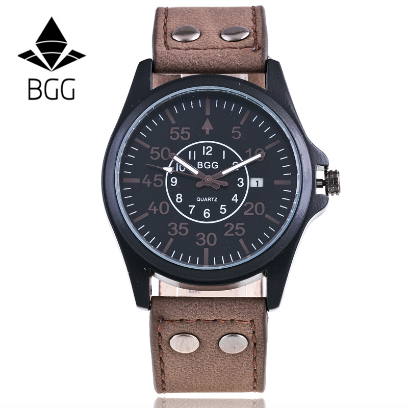 BGG Business Quartz Watch Men sport Military Watches Men Leather Strap army wristwatch clock hours Calendar Relogio Masculino high quality mens business quartz watch men sport military watch pu leather strap army wristwatch male casual clock hour relogio