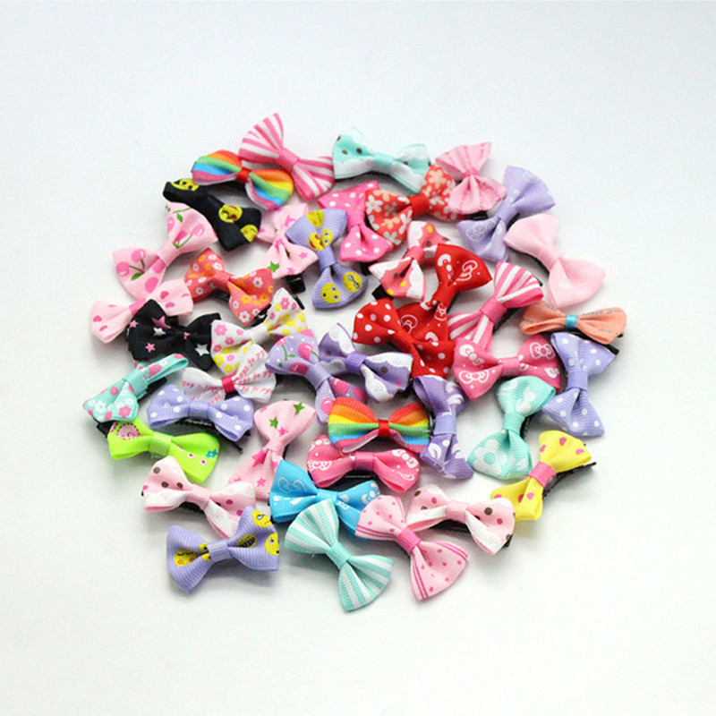 100pcs/ Lot Hair Accessories Small hair clips for girls Mini 3cm Bow Sweet Printing Baby Girl Kids Hairpins Children Barrette high quality big rose flowers ribbon banana hair clips for women fashion hair flower barrette girls hair accessories 2 colors