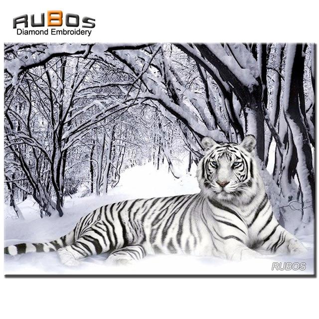 RUBOS diamante bordado blanco nieve Tigre Animal completo DIY 5D ...