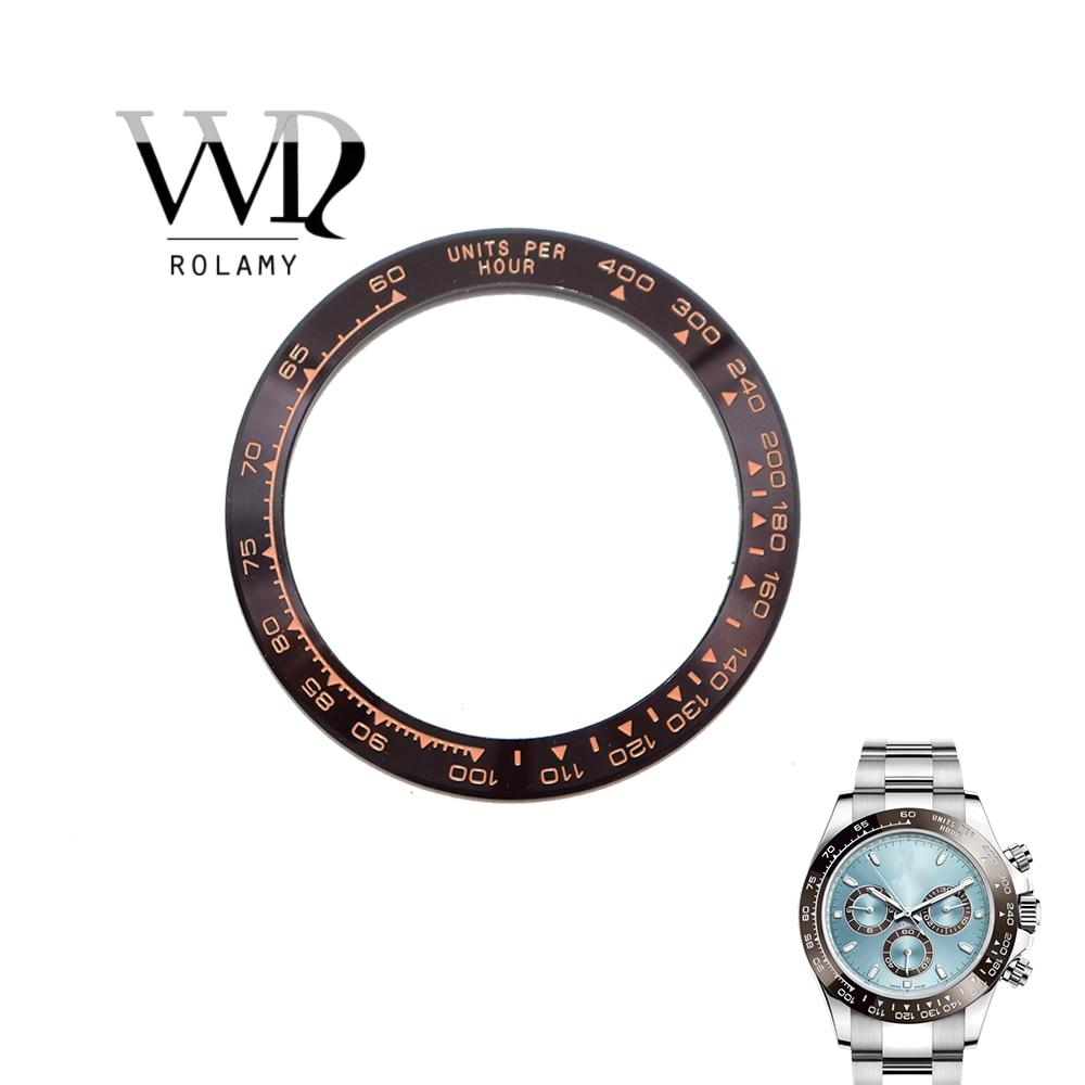 Rolamy remplacement de haute qualité en céramique Pure marron avec des écrits en or Rose 38.6mm montre lunette pour DAYTONA 116500-116520