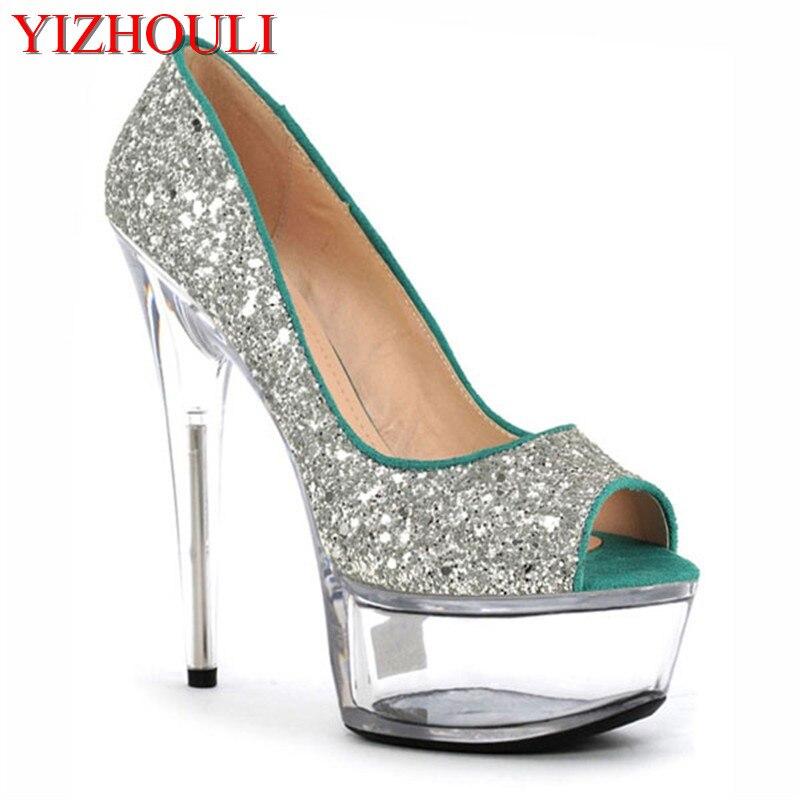 bda7a985e أزياء الصيف مثير عالية الكعب منصة شفافة مضخات تو 15 سنتيمتر الراين امرأة  مضخات الفضة/الذهب أحذية الزفاف