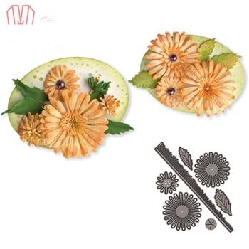 Mai 7 unids/set flores de Metal para cortar plantillas para DIY Scrapbooking álbum de fotos decorativo en relieve DIY tarjetas de papel