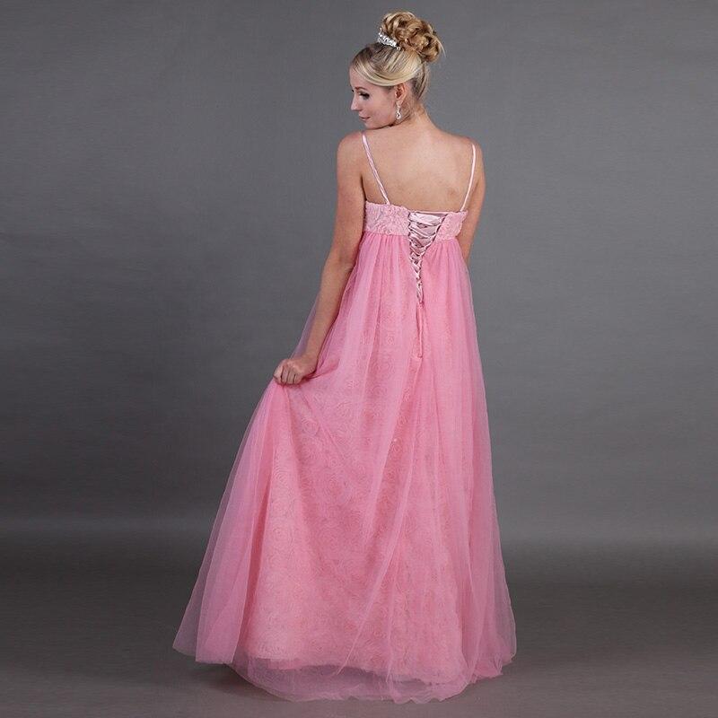 Bretelles Spaghetti rose robes De demoiselle d'honneur longue impression fleur dentelle robes De Festa pleine longueur femmes enceintes robes De fête formelles