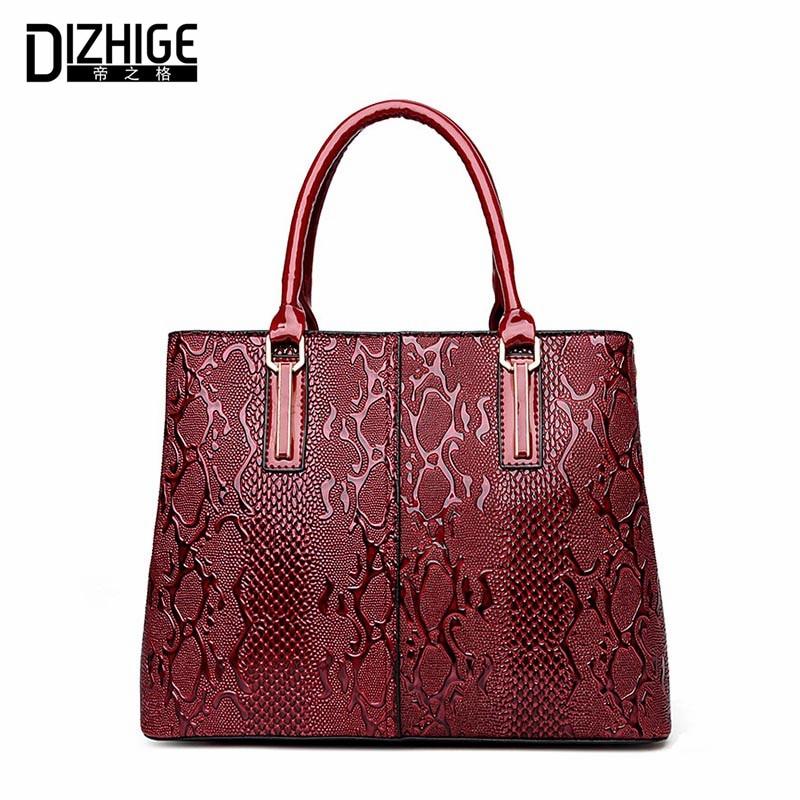 ФОТО DIZHIGE Brand New Luxury Serpentine Women Bag High Quality PU Leather Bags Women Handbags Designer Shoulder Bags Ladies 2016 Sac
