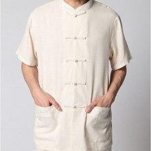 Beige Nueva Tradicional de Los Hombres Chinos de Lino Kung Fu Camisa de La Tapa juego de la espiga de manga corta tamaño s m l xl xxl xxxl 2350-3