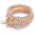 3 Unids/set Unisex Pulseras de Oro de La Manera Plateó Ocho palabras Crystal Bracelet & Bangle Multilayer Charm Rose del Metal Del Oro Elasti