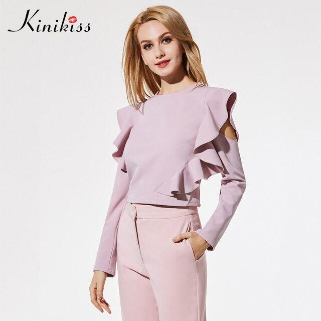 d817b2d60b1649 Kinikiss autumn 2018 female blouse apparel pink ruffle sleeve hollow  zippers woven Fabric spring women tops sexy fashion blouse