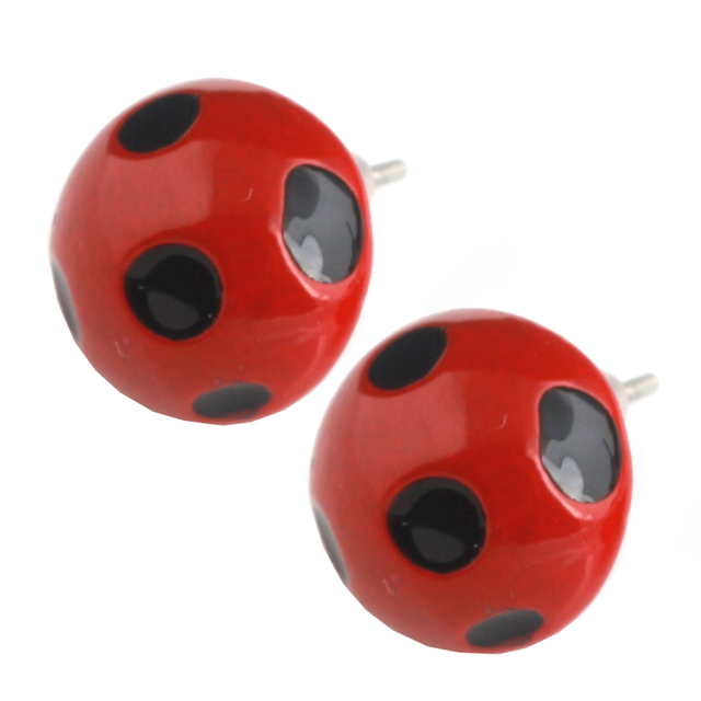 Fashion Red Enamel Miraculous Ladybug Earrings S Cat Noir Cartoon Anime Jewelry Gifts