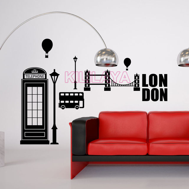 3 Piece Modern Home Decor Wall Painting London Red Phone Booth Art Print On Canvas
