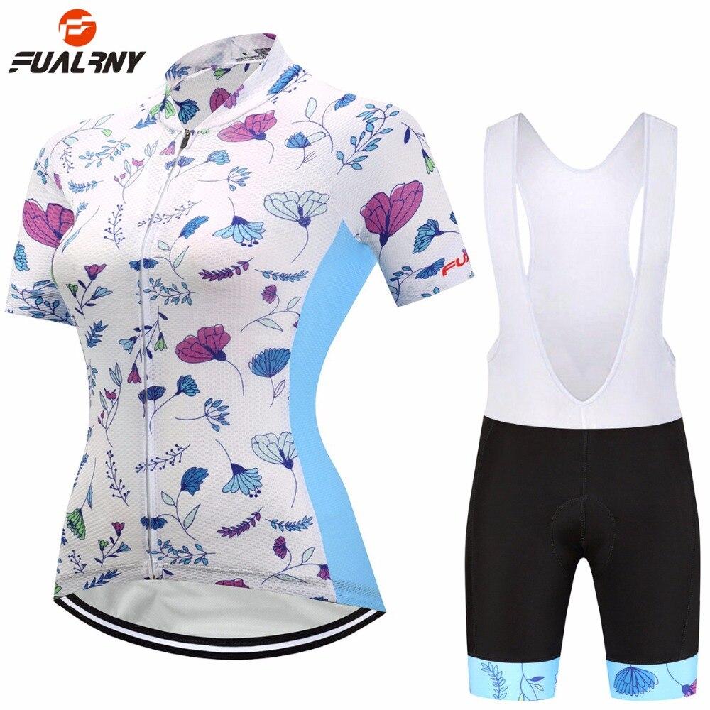 Fualrny 2018 Для женщин короткий рукав Велоспорт Джерси Велосипедная форма установить дышащий велосипед Майки Велосипедный спорт Горный износ ...