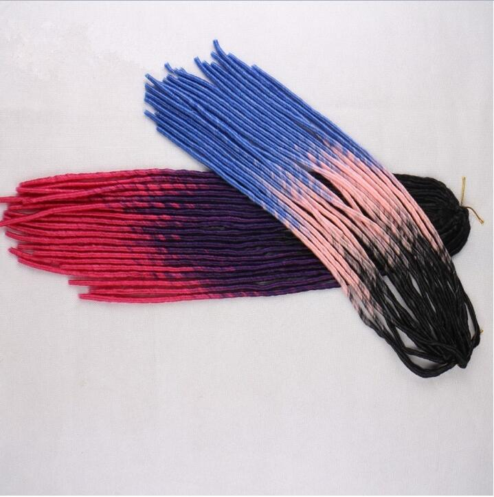 HOT 2017 100pack lot Soft Dread Lock Synthetic Hair Extensions Faux Locs Braid Hair 20 Ombre
