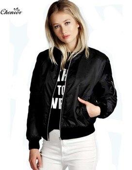 2016 European Style Womens Retro Long Sleeve O-Neck Short Zipper Slim Bomber Jacket Casual Coat MA1 Pilot Bomber Jackets