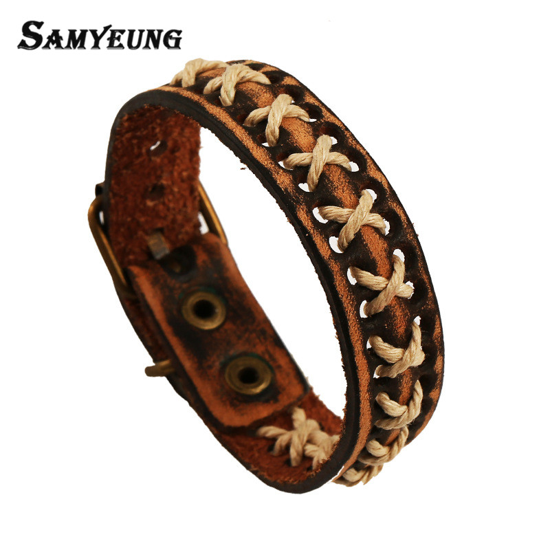 Samyeung Vintage Handmade Leather Wrap Bracelets Male Pulseras Mujer Rock Braslet Charm Rope Men Bracelet Leather Braclet Femme