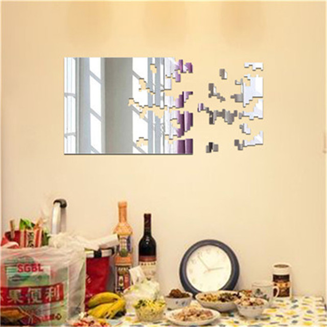 Mirror Wall Sticker 3D Rectangle Square Self Adhesive Room ...