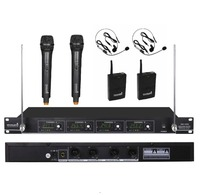 STARAUDIODJ SMV 4000A+B Pro 4 Channel VHF DJ Stage Church Club Handheld and Lavalier Headset Wireless Microphone System Mic