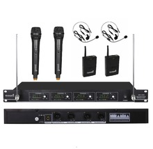 STARAUDIODJ SMV-4000A+B Skilled four Channel VHF Handheld and Lapel Headset Wi-fi Microphone System Mic