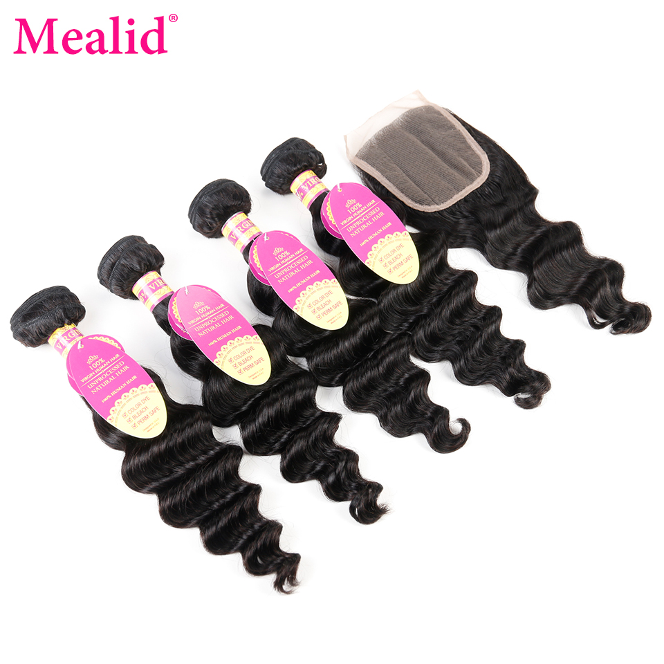 Mealid Brazilian Loose Wave 4 Bundles With Closure Free Part Natural Color Non-remy Closure Human Hair With Bundles