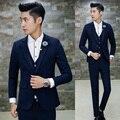 3 Шт последние конструкции пальто брюки мужчин костюм качество slim fit свадебное платье для мужчин терно masculino мужские костюмы (куртка + Брюки + Жилет) Горячая