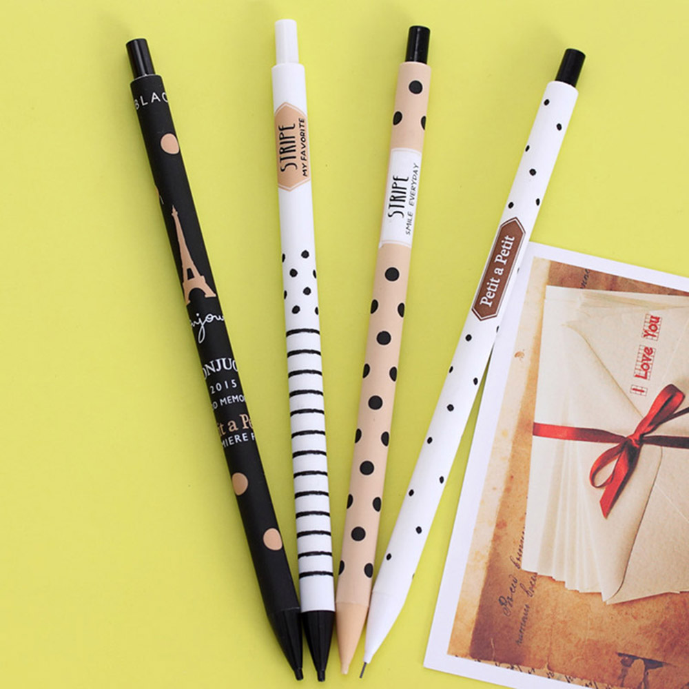 2pcs 0.5mm Cute Kawaii Plastic Mechanical Pencil Lovely Dots Tower Automatic Pen For Kid School Supplies  Painting Tools