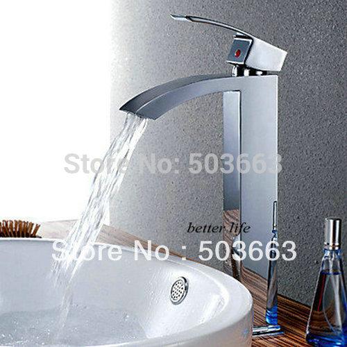 Водопад Носик Высокий Ванная комната масло втирают Черный Бронзовый бортике 8318-1/5 одной ручкой смесители для раковины смесители и краны