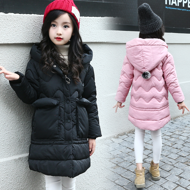 2018 Baby Girls Cotton-padded Outerwear & Coats Winter Outdoor Children Warm Clothes Fashion Casual Cotton Jacket Coat 5-12 Y new 2017 men winter black jacket parka warm coat with hood mens cotton padded jackets coats jaqueta masculina plus size nswt015