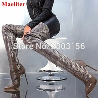 Newest Women Boots Sexy Pointed Toe Thigh High Boots Snakeskin Thin Heels Shoes Woman Over The