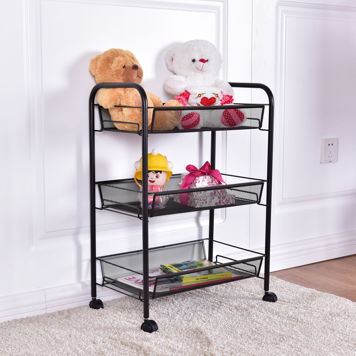 3 Tier Mesh Rolling File Utility Cart