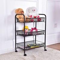 Giantex 3 Tier Mesh Rolling File Utility Cart Home Office Kitchen Storage Basket Modern Portable Trolley Cart HW54961BK
