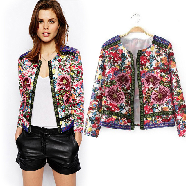 New Women's Embellished Embroidered Army Military Shirt Jacket Outwear Coat  US