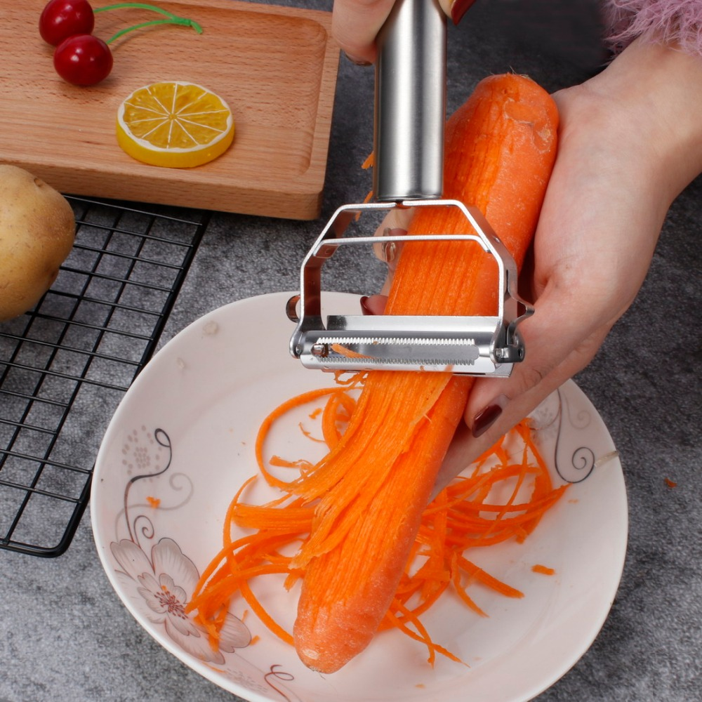 1PCS Multifunction Stainless Steel Julienne Peeler Vegetable Peeler Double Planing Grater Kitchen Accessories Cooking Tools in Graters from Home Garden