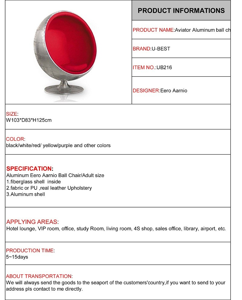 aluminium ball chair aviator style